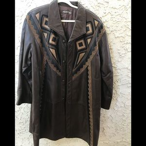 Vintage NORMA Native American style Leather Jacket